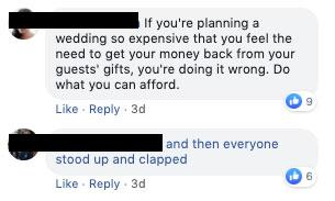 Facebook users react to the bride's 'crazy' demand. Photo: Facebook.
