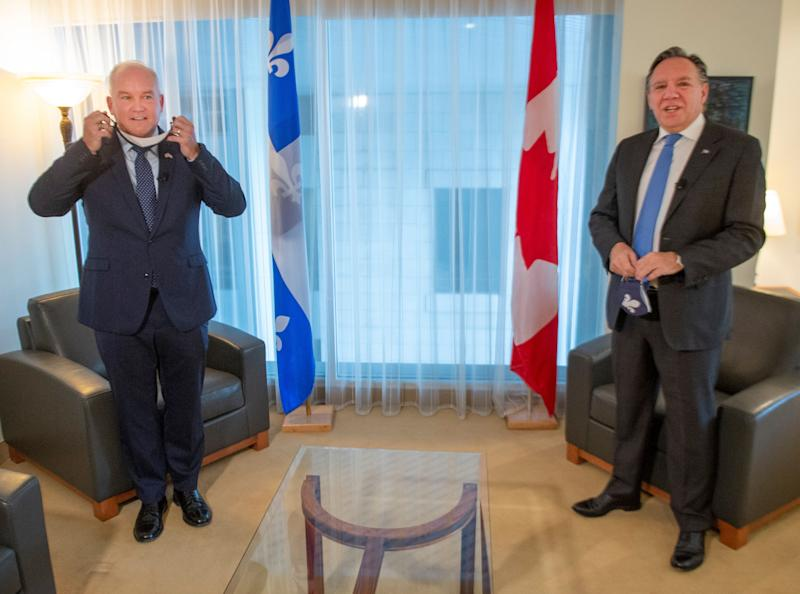 Conservative Leader Erin O'Toole, left, and Quebec Premier Francois Legault get set to start their meeting in Montreal on Sept. 14, 2020. (Photo: CP/Ryan Remiorz )