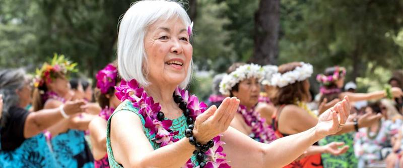 Honolulu, Hawaii, USA, 01.May. 2018: The 91st annual Lei day celebration at Kapiolani Park to celebrate the spirit of giving and receiving Lei, symbolizing welcome and hospitality.