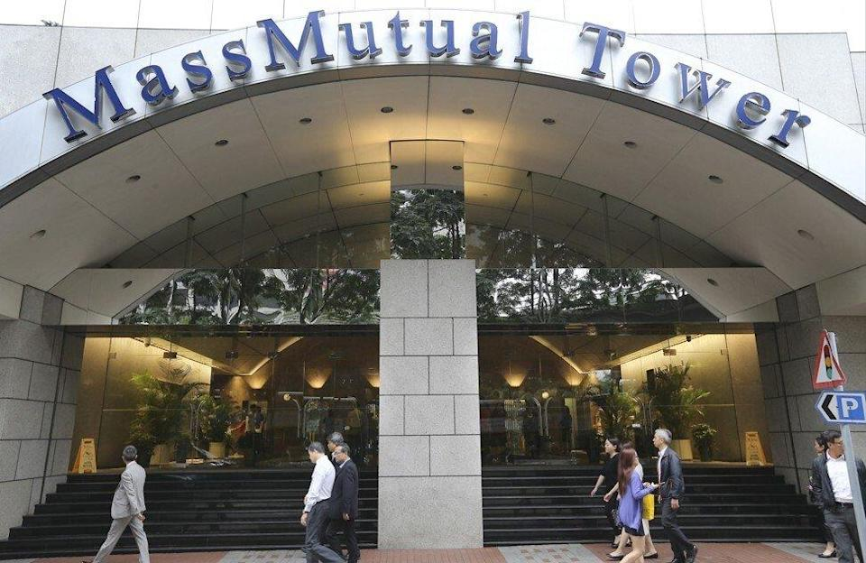 The entrance to the Mass Mutual Tower in November 2015. Photo: Dickson Lee