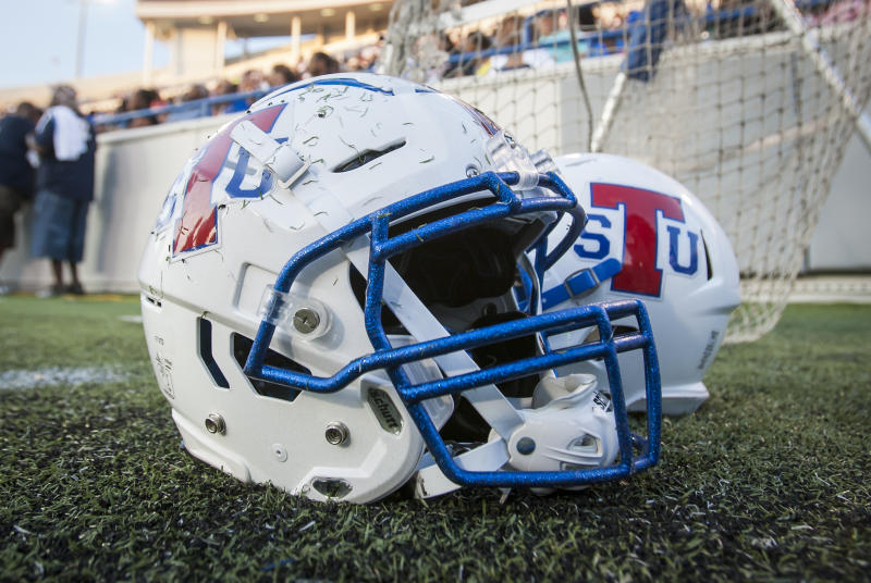 MEMPHIS, TN - SEPTEMBER 14: TSU branded helmet sits aside the player benches during the Southern Heritage Classic game between the Jackson State University Tigers and the Tennessee State Tigers on Saturday September 14, 2019 at Liberty Bowl Memorial Stadium in Memphis, TN. (Photo by Nick Tre. Smith/Icon Sportswire via Getty Images)