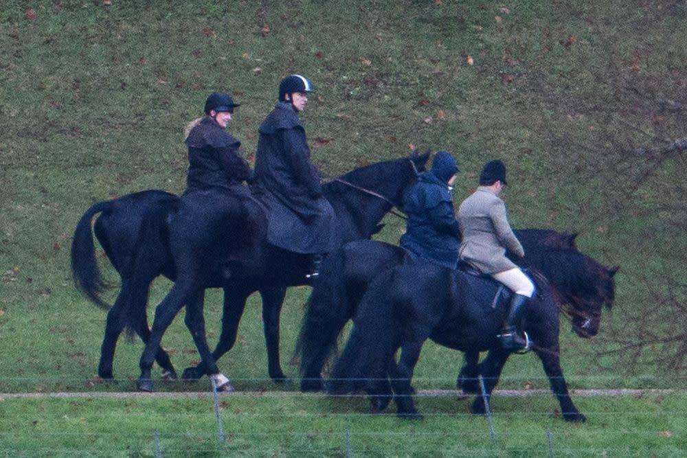 Prince Andrew (center) riding with his mother Queen Elizabeth (second from right) in Windsor on Nov. 22. | Ben Cawthra/Sipa