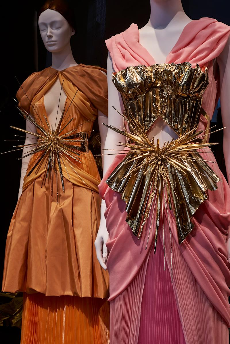 Rodarte (American, founded 2004). Kate Mulleavy (American, born 1979), Laura Mulleavy (American, born 1980). Ensembles, 2011. Gold metallic silk satin trimmed with beige feathers, embroidered gold metal paillettes, wire, beads, and gold metallic ribbon.