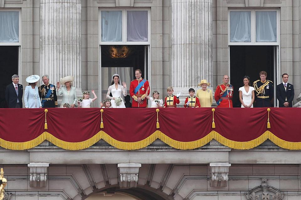 PGreeting the crowd from the balcony at Buckingham Palace for Prince William, Duke of Cambridge and Catherine, Duchess of Cambridge wedding