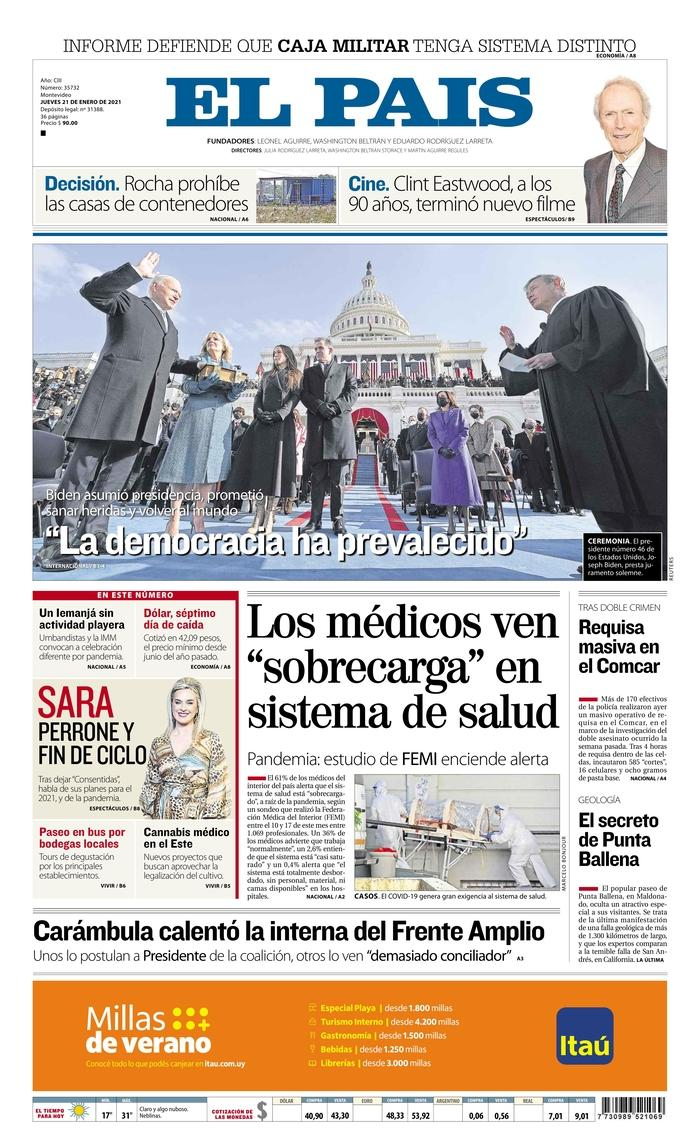 January 21, 2021 front page of El Pais