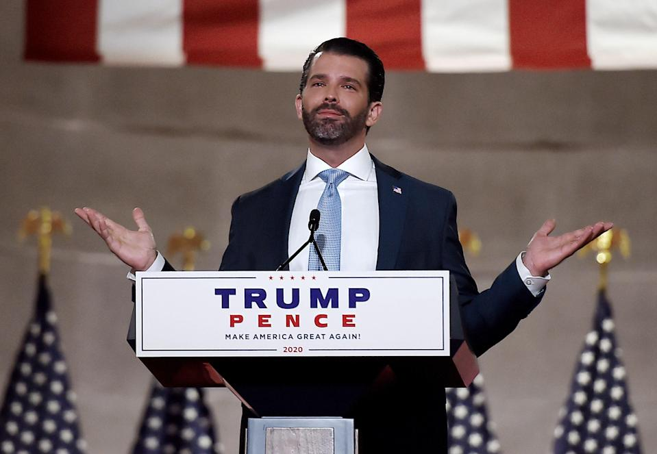 <p>In this file photo taken on August 24, 2020 Donald Trump Jr. speaks during the first day of the Republican convention at the Mellon auditorium in Washington, DC. (Photo by Olivier DOULIERY / AFP) (Photo by OLIVIER DOULIERY/AFP via Getty Images)</p> (AFP via Getty Images)