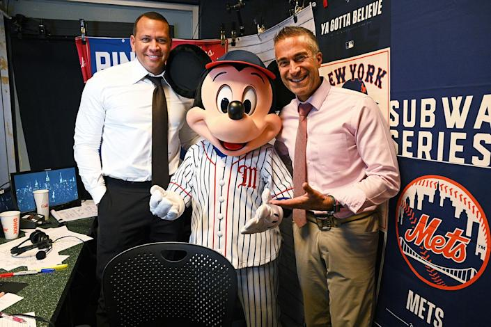 <p>Mickey Mouse visits ESPN Sunday Night Baseball announcers Alex Rodriguez and Matt Vasgersian in the booth on Sept. 19 to celebrate the recent premieres of Disney Junior's series <em>Mickey Mouse Funhouse </em>and <em>Marvel's Spidey and His Amazing Friends</em> at New York City's Citi Field.</p>