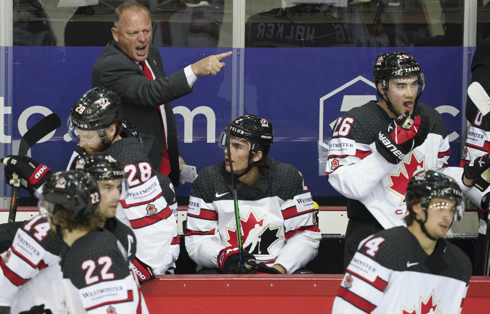Canada's Head Coach Gerard Gallant reacts during the Ice Hockey World Championship quarterfinal match between Russia and Canada at the Olympic Sports Center in Riga, Latvia, Thursday, June 3, 2021. (AP Photo/Roman Koksarov)