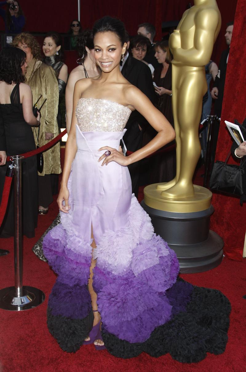 Purple ombre. Glitter. Train. There's so many fun aspects of this dress, we wonder why agown like hadn't been worn before the 2010 Academy Awards. Zoe Saldana = top marks.