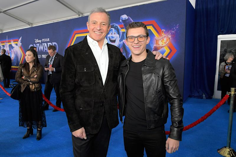 The Walt Disney Company Chairman and CEO Bob Iger and Tom Holland attend the world premiere of Disney and Pixar's ONWARD at the El Capitan Theatre on February 18, 2020 in Hollywood, California. (Photo by Charley Gallay/Getty Images for Disney)