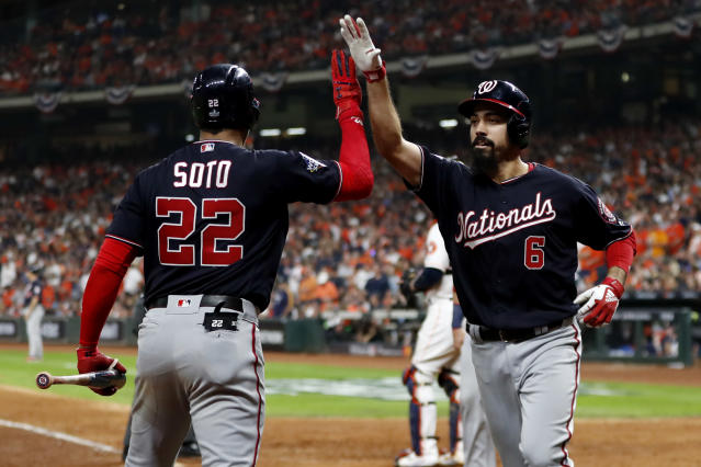 Anthony Rendon (right) and Juan Soto drove in seven combined run in the Nationals World Series Game 6 win. (Rob Tringali/Getty Images)