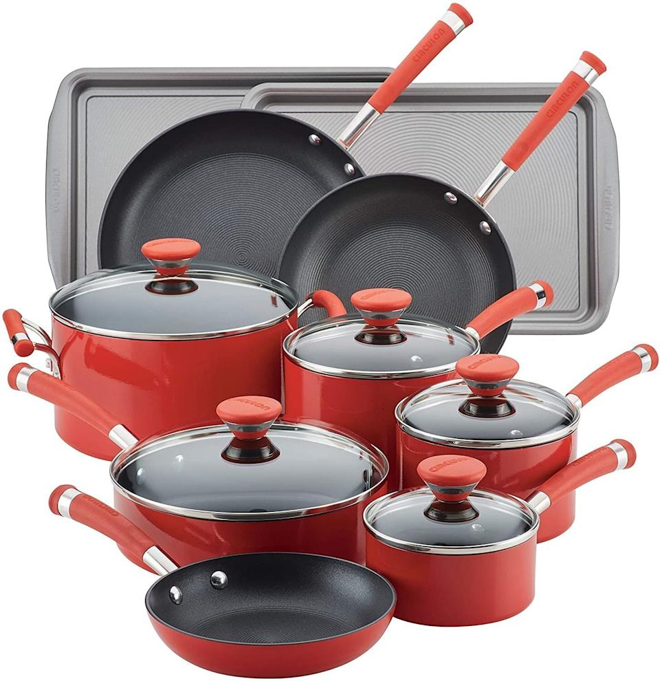 """This Prime Day, this affordable cookware set is $50 off. The set include different sauce pans and frying pans. Plus, it comes with cookie sheets for all the bakers out there.<a href=""""https://amzn.to/3lH20eE"""" target=""""_blank"""" rel=""""noopener noreferrer"""">Originally $200, get the set now for $150 at Amazon</a>."""