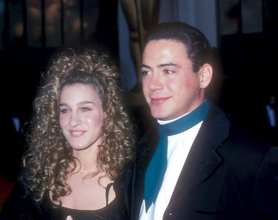 """Sarah Jessica Parker and Robert Downey Jr. at the 61st Academy Awards. They were in a rocky seven-year relationship at the time, <a href=""""https://people.com/tv/sarah-jessica-parker-on-robert-downey-jr-relationship/"""" rel=""""nofollow noopener"""" target=""""_blank"""" data-ylk=""""slk:which SJP has gone into detail about in the past"""" class=""""link rapid-noclick-resp"""">which SJP has gone into detail about in the past</a>. <em>[Photo: Getty]</em>"""