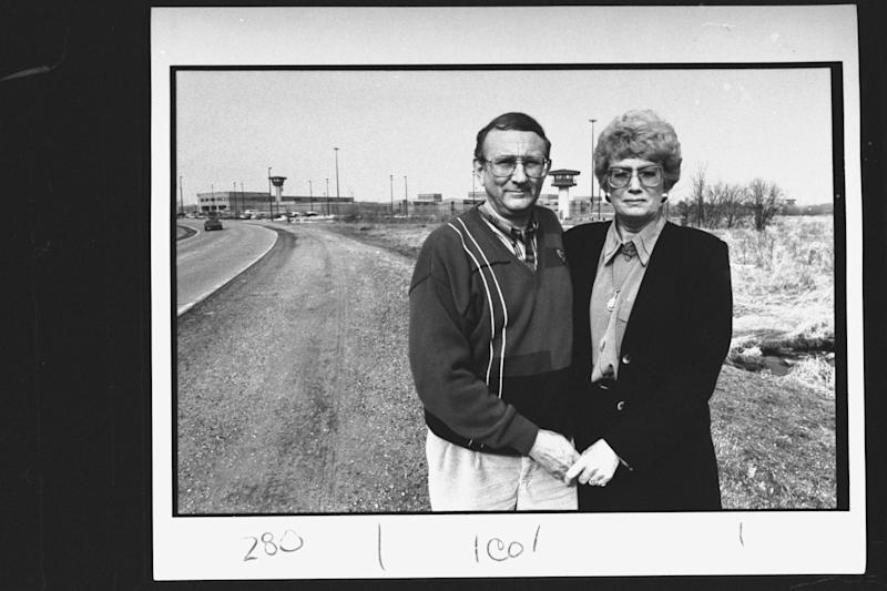 Research chemist/author Lionel Dahmer, father of confessed serial killer Jeffrey Dahmer, w. wife Shari (stepmother) standing outside of Columbia Correctional Institute where Jeffrey is imprisoned. (Photo by Steve Kagan/The LIFE Images Collection via Getty Images/Getty Images)