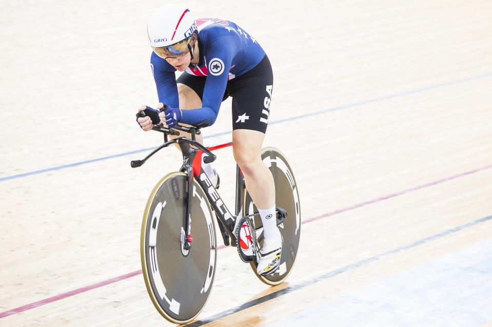 Kelly Catlin durante una competición en Hong Kong en 2017. (Getty Images).