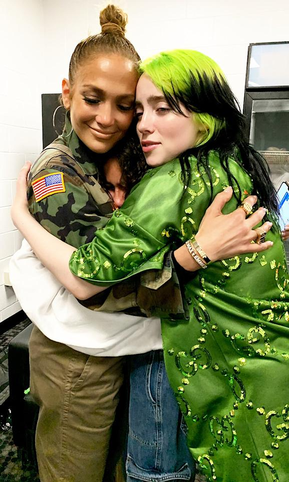 """<p>Group hug! The singer tweeted two snaps of herself and her 12-year-old daughter getting a big bear hug from Eilish.</p><p>""""When Emme met Billie @billieeilish,"""" Lopez captioned her sweet <a href=""""https://twitter.com/JLo/status/1237223517063655426"""">tweet</a>.</p>"""