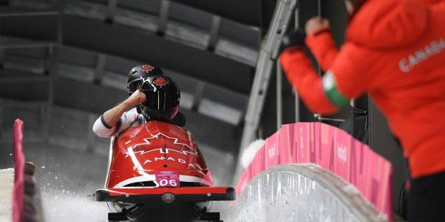 Canada's Alexander Kopacz and Justin Kripps have tied for a gold medal in the two-man bobsled.
