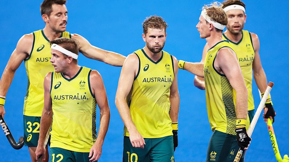 The Kookaburras, pictured here celebrating victory in the semi-finals against Germany.