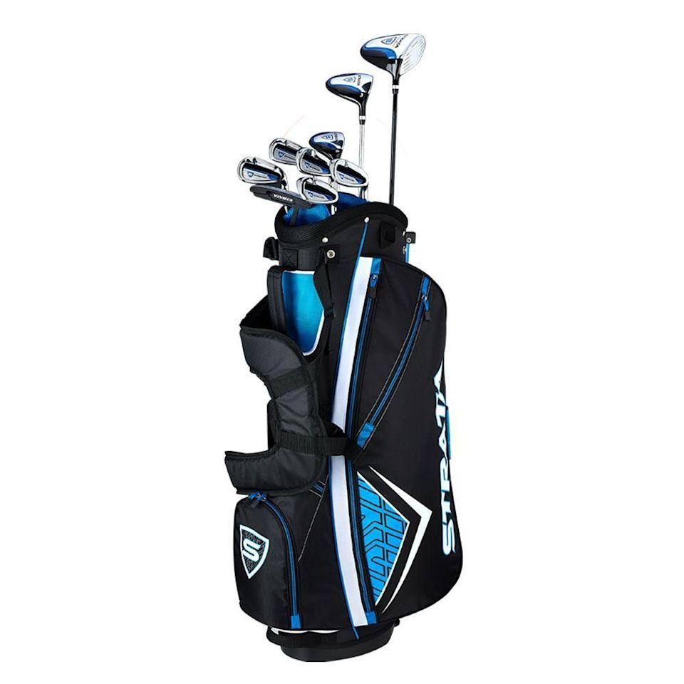 """<p><strong>Callaway</strong></p><p>amazon.com</p><p><strong>$449.99</strong></p><p><a href=""""https://www.amazon.com/dp/B07H2CKPJV?tag=syn-yahoo-20&ascsubtag=%5Bartid%7C2089.g.1543%5Bsrc%7Cyahoo-us"""" rel=""""nofollow noopener"""" target=""""_blank"""" data-ylk=""""slk:Shop Now"""" class=""""link rapid-noclick-resp"""">Shop Now</a></p><p>Strata's line offers this nine-club set (12 pieces when counting two head covers and the bag) as the perfect entry-level golf club set for someone needing all the essentials in an affordable, ready-to-swing package from a respected brand.</p><p>Complete with a lightweight stand bag, this set includes a driver, a 3-wood, a 5-hybrid, six irons, a pitching wedge, and a putter. The driver has an oversized head and sweet spot, comparable to higher-priced clubs that the pros use, while the 5-hybrid provides a great alternative to those pesky long irons.</p><p>This set is an <a href=""""https://www.amazon.com/Callaway-Strata-Complete-Piece-Package/dp/B07H2HQJR5?tag=syn-yahoo-20&ascsubtag=%5Bartid%7C2089.g.1543%5Bsrc%7Cyahoo-us"""" rel=""""nofollow noopener"""" target=""""_blank"""" data-ylk=""""slk:Amazon best seller"""" class=""""link rapid-noclick-resp"""">Amazon best seller</a> and a top pick of <a href=""""https://www.businessinsider.com/best-golf-clubs#the-best-complete-set-for-beginners-2"""" rel=""""nofollow noopener"""" target=""""_blank"""" data-ylk=""""slk:Business Insider"""" class=""""link rapid-noclick-resp"""">Business Insider</a> and <a href=""""https://heavy.com/sports/2018/10/best-golf-clubs-for-beginners/"""" rel=""""nofollow noopener"""" target=""""_blank"""" data-ylk=""""slk:Heavy.com"""" class=""""link rapid-noclick-resp"""">Heavy.com</a>. It's offered in <a href=""""https://www.amazon.com/Callaway-Strata-Ultimate-Complete-Piece/dp/B07H2CKPJV?tag=syn-yahoo-20&ascsubtag=%5Bartid%7C2089.g.1543%5Bsrc%7Cyahoo-us"""" rel=""""nofollow noopener"""" target=""""_blank"""" data-ylk=""""slk:16-"""" class=""""link rapid-noclick-resp"""">16-</a> and <a href=""""https://www.amazon.com/dp/B073XGGFGN?tag=syn-yahoo-20&ascsubtag=%5Bartid%7C2089.g.1543%5Bsrc%7Cyahoo-us"""" rel=""""nofollow n"""