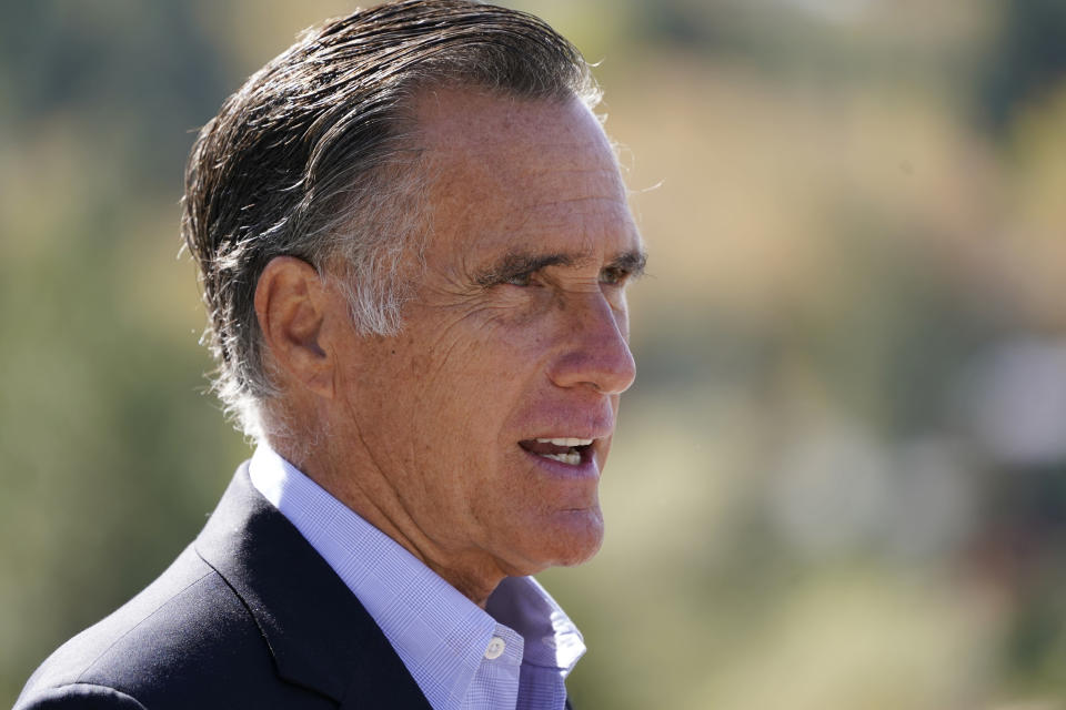 Sen. Mitt Romney, R-Utah, speaks during a news conference Thursday, Oct. 15, 2020, near Neffs Canyon, in Salt Lake City. Romney announced legislation to establish a national wildfire commission that would make policy recommendations aimed at diminishing future wildfire disasters. (AP Photo/Rick Bowmer)