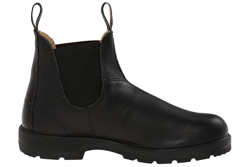 """<p><strong>Blundstone</strong></p><p>zappos.com</p><p><strong>$194.95</strong></p><p><a href=""""https://go.redirectingat.com?id=74968X1596630&url=https%3A%2F%2Fwww.zappos.com%2Fp%2Fblundstone-bl558-black%2Fproduct%2F7508642&sref=https%3A%2F%2Fwww.prevention.com%2Fbeauty%2Fstyle%2Fg28511743%2Fcomfortable-ankle-boots%2F"""" rel=""""nofollow noopener"""" target=""""_blank"""" data-ylk=""""slk:Shop Now"""" class=""""link rapid-noclick-resp"""">Shop Now</a></p><p>A favorite of everyone from ranchers to city slickers, these time-honored boots are cute enough to post online, but durable enough to survive rain, snow, and yard work. Better yet, they <strong>boast shock-absorbing outsoles and removable footbeds</strong>, meaning you can add your own orthotics. Dr. Tulpule likes them for their """"cushion, pulls tabs for easy slip-on, and casual feel,"""" mentioning that they're great for all-day walking. At just under $200, they're certainly an investment, but one that you can trust will survive many colder seasons to come.</p>"""