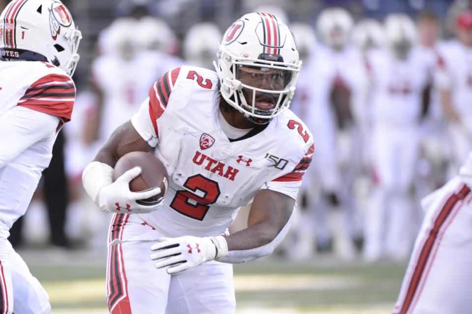 Utah RB Zack Moss is a great runner, but injury concerns persist. (Photo by Jeff Halstead/Icon Sportswire via Getty Images)