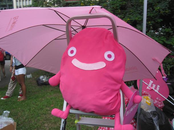 Pink Dot merchandise include umbrellas, fans, pom poms and the Dot plushie. (Yahoo! photo/Jeanette Tan)