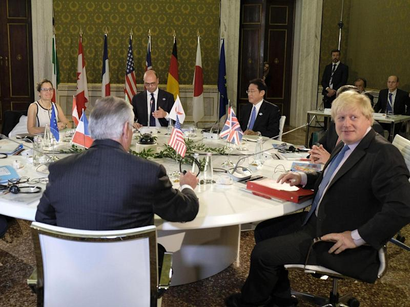 The Foreign Secretary was due to push sanctions on fellow G7 leaders at a meeting on Monday evening: EPA