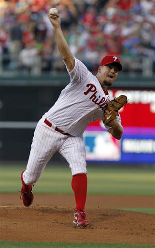 Philadelphia Phillies starting pitcher Joe Blanton throws during the first inning of an interleague baseball game with the Boston Red Sox, Saturday, May 19, 2012, in Philadelphia. (AP Photo/Alex Brandon)