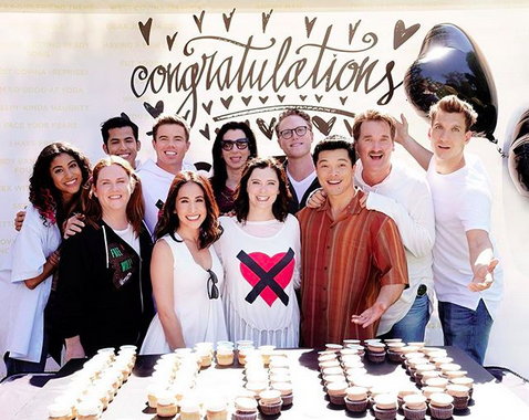 "<p>""Celebrating the filming of our hundredth song today at #crazyexgirlfriend!"" the musical marvel captioned this cupcake-filled cast shot. ""Is that my costume or is that just the shirt I was wearing? WATCH TO FIND OUT,"" she teased! (Photo: <a rel=""nofollow"" href=""https://www.instagram.com/p/BZ5D1A7BW7n/?hl=en&taken-by=racheldoesstuff"">Rachel Bloom via Instagram</a>) </p>"