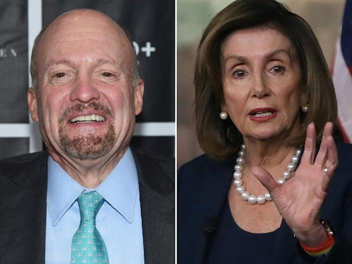 Jim Cramer (right) attends the New York Fatherhood Lunch to benefit GOOD+ Foundation on 18 October 2016 in New York City. Speaker of the House Nancy Pelosi (left) speaks during her weekly news conference on Capitol Hill, on 16 January 2020 in Washington, DC ((Getty Images))