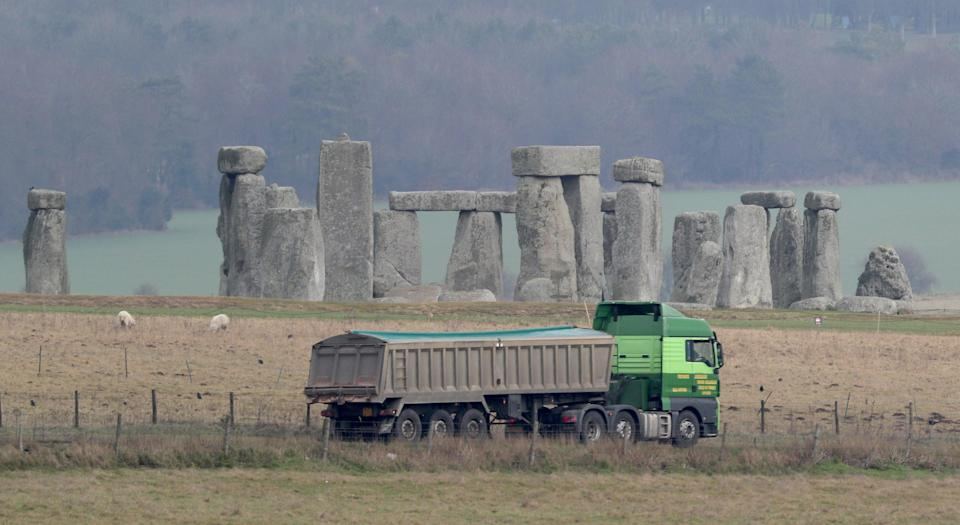 Traffic passing Stonehenge on the A303 road in Wiltshire (Steve Parsons/PA) (PA Wire)