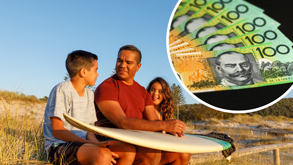 Image of an Aboriginal family, with $100 notes in the corner
