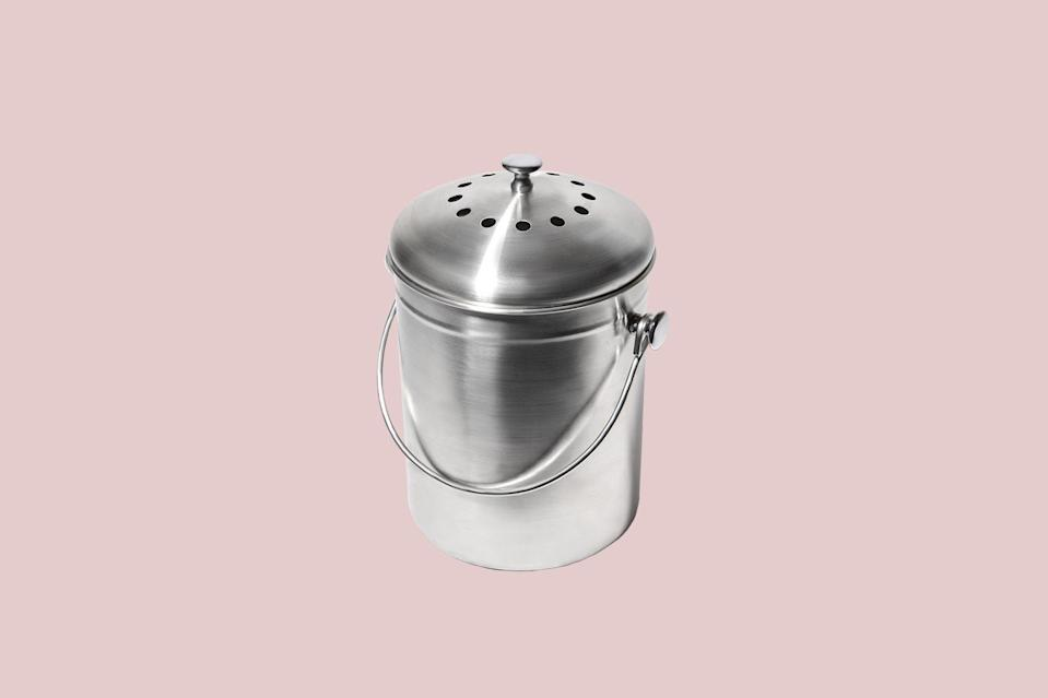 """<p>For the friend who wants to be more eco-friendly at home, doing so is easy with this stainless steel compost bin. It's compact enough to fit on countertops, and the replaceable cotton and activated charcoal filter keep odors at bay while turning food scraps into nutrient-rich soil rose bushes will love.</p> <p><strong><em>Shop Now: </em></strong><em>Package Free Shop Stainless Steel Countertop Compost Bin, $17, </em><a href=""""https://packagefreeshop.com/collections/kitchen-b/products/stainless-steel-compost-bin"""" rel=""""nofollow noopener"""" target=""""_blank"""" data-ylk=""""slk:packagefreeshop.com"""" class=""""link rapid-noclick-resp""""><em>packagefreeshop.com</em></a>.</p>"""