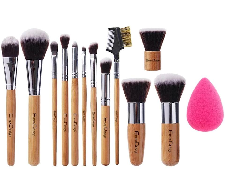 <p>Replace your old makeup brushes with this bamboo-based <span>EmaxDesign 12+1 Pieces Makeup Brush Set</span> ($11). This set comes with a two types of foundation brushes, a kabuki brush, highlight brush, concealer brush, three types of eyeshadow brushes, an angled brow brush, an eyelash brush, contour and blush brushes, and a beauty sponge.</p>