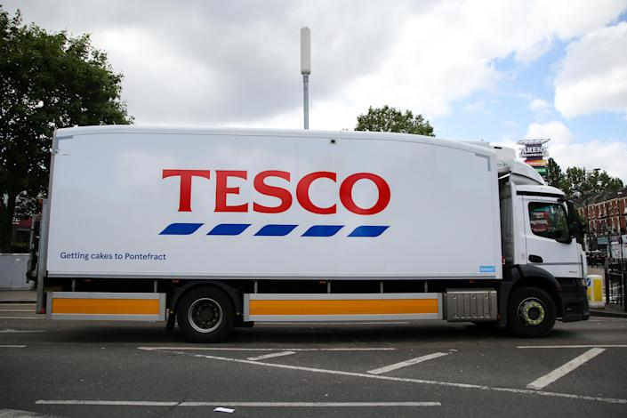 A Tesco delivery truck in north London. Photo: Dinendra Haria/SOPA Images/LightRocket via Getty