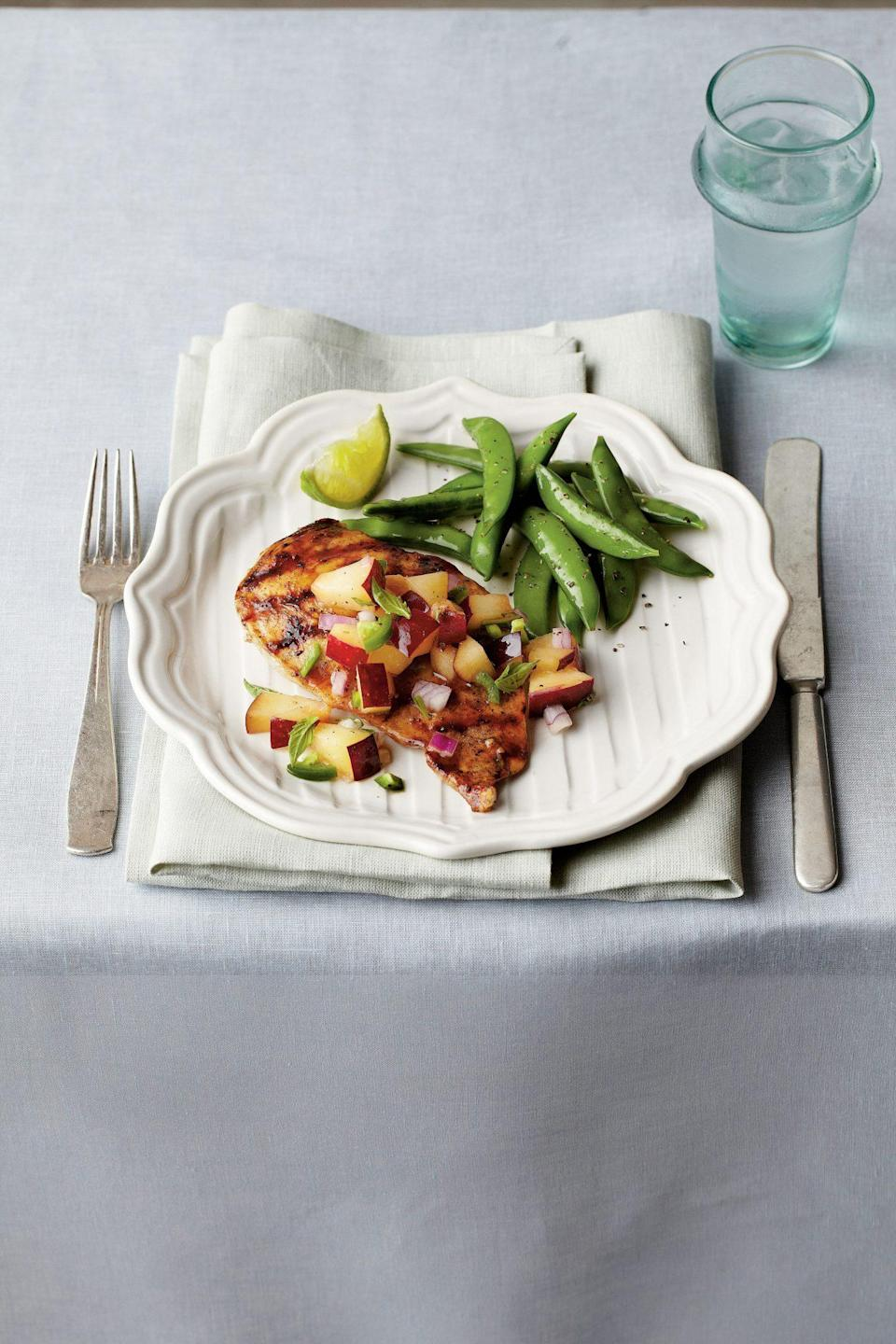 """<p><strong>Recipe: </strong><a href=""""https://www.southernliving.com/syndication/pan-grilled-chicken-fresh"""" rel=""""nofollow noopener"""" target=""""_blank"""" data-ylk=""""slk:Pan-Grilled Chicken with Fresh Plum Salsa"""" class=""""link rapid-noclick-resp""""><strong>Pan-Grilled Chicken with Fresh Plum Salsa</strong></a></p> <p>This entire dish comes together in just under 30 minutes, providing the perfect summertime supper in a flash. A jalapeno pepper and chopped red onion bring a bit of heat that plays off the sweet, ripe plums.</p>"""