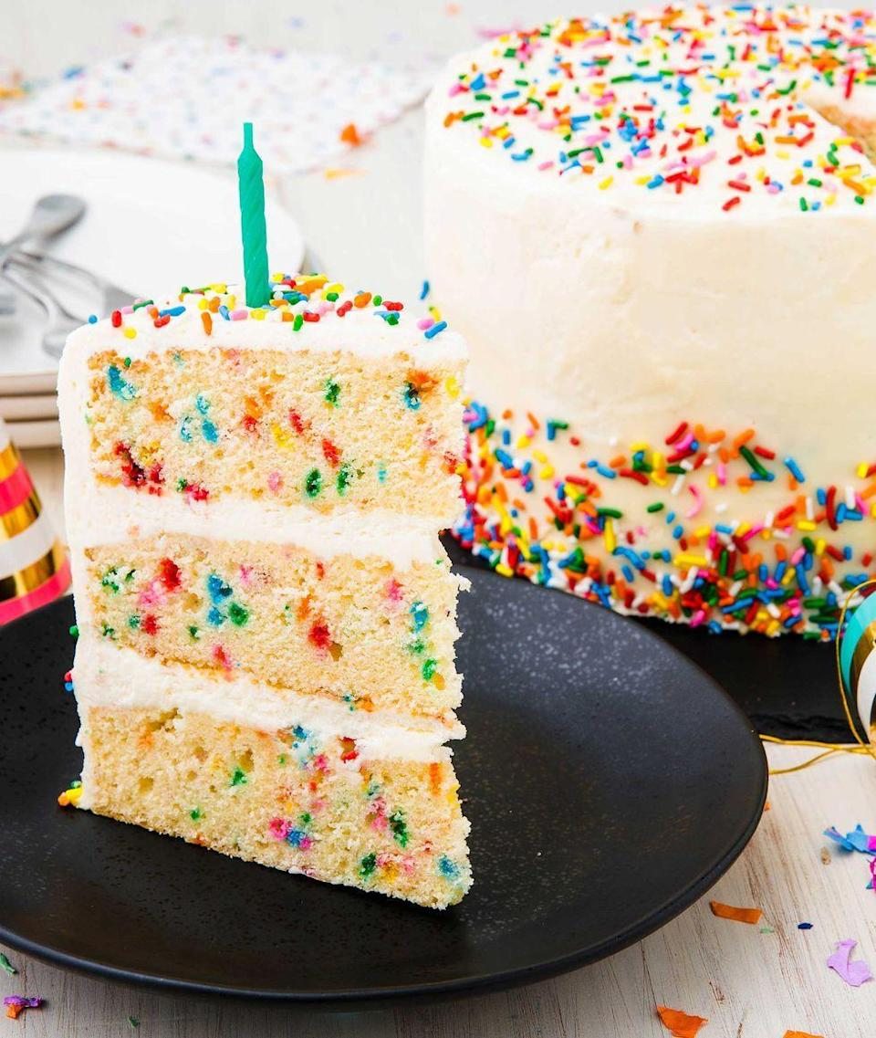 """<p>A funfetti cake might remind Mom of the boxed ones she used to bake for school birthday parties — although this one will be made by <em>you</em>.<br></p><p><em><a href=""""https://www.delish.com/cooking/recipe-ideas/a23120595/funfetti-cake-birthday-cake-recipe/"""" rel=""""nofollow noopener"""" target=""""_blank"""" data-ylk=""""slk:Get the recipe at Delish »"""" class=""""link rapid-noclick-resp"""">Get the recipe at Delish »</a></em></p>"""