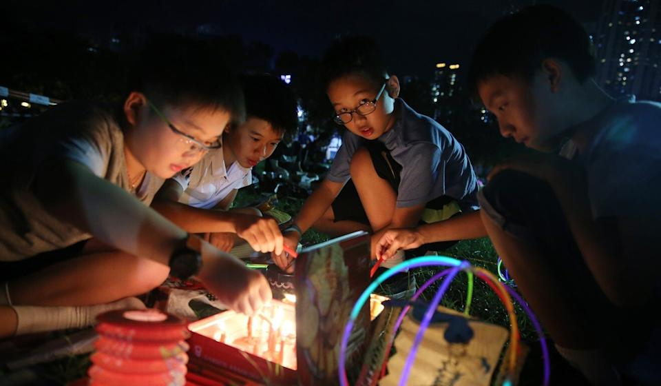 Children celebrate the Mid-Autumn Festival at Victoria Park in Causeway Bay in 2018. Photo: Sam Tsang