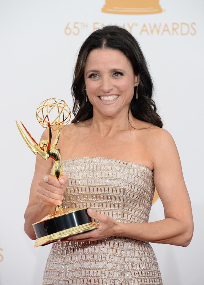 "LOS ANGELES, CA - SEPTEMBER 22: Actress Julia Louis-Dreyfus, winner of the Best Lead Actress In A Comedy Seriers Award for ""Veep"" poses in the press room during the 65th Annual Primetime Emmy Awards held at Nokia Theatre L.A. Live on September 22, 2013 in Los Angeles, California. (Photo by Jason Merritt/Getty Images)"