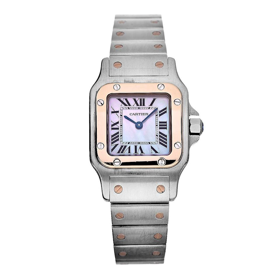 "<p><strong>Cartier</strong></p><p>therealreal.com</p><p><strong>$2395.00</strong></p><p><a href=""https://www.therealreal.com/products/watches/bracelet/cartier-santos-octagon-watch-8u1oa"" rel=""nofollow noopener"" target=""_blank"" data-ylk=""slk:Shop Now"" class=""link rapid-noclick-resp"">Shop Now</a></p><p>If you want a Cartier watch (because you are a human) the Santos is the go-to, and its especially nice with contrasting metallic rivets. </p>"