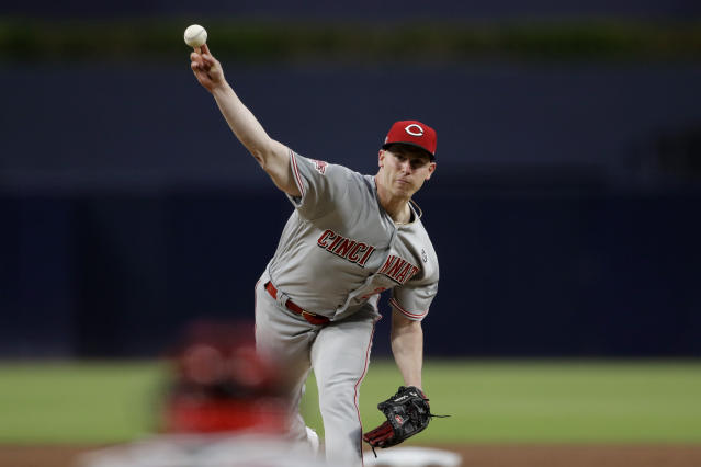 Cincinnati Reds starting pitcher Anthony DeSclafani works against a San Diego Padres batter during the first inning of a baseball game Friday, April 19, 2019, in San Diego. (AP Photo/Gregory Bull)