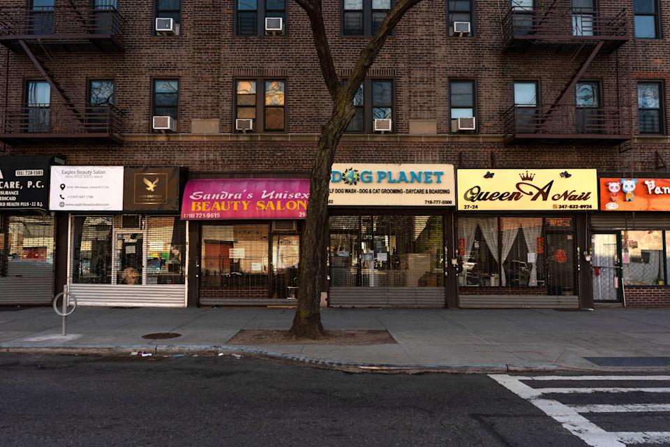 "Numerous small businesses have closed along 30th Avenue in Astoria, Queens (pictured). To find out how you can support New York's local business during the lockdown, check out <a href=""https://www.cntraveler.com/story/how-to-support-nyc-small-businesses-coronavirus?mbid=synd_yahoo_rss"" rel=""nofollow noopener"" target=""_blank"" data-ylk=""slk:our guide"" class=""link rapid-noclick-resp"">our guide</a>."