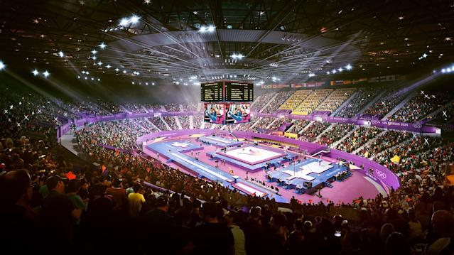 <p>Gymnastics at the Forum. (Photo: Courtesy LA 2024) </p>
