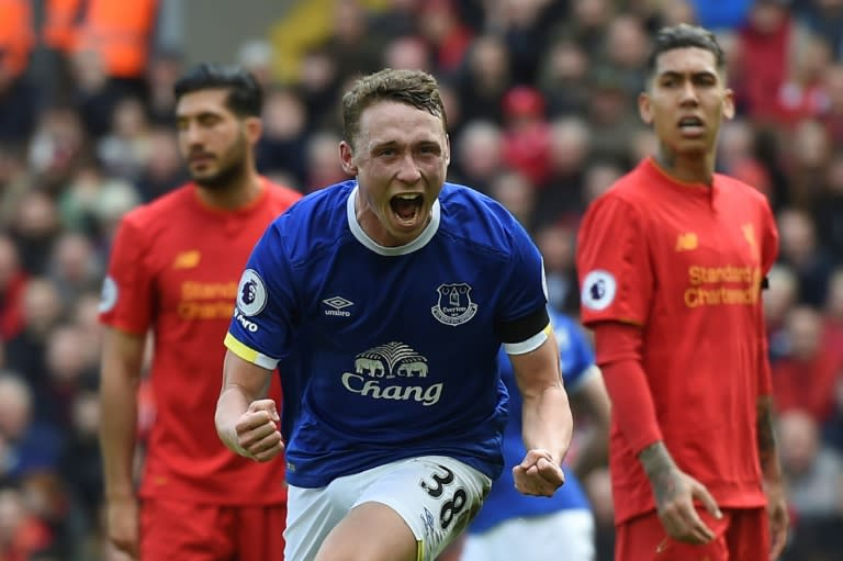 Everton's Matthew Pennington celebrates after scoring during the Premier League match against Liverpool at Anfield in north-west England, on April 1, 2017