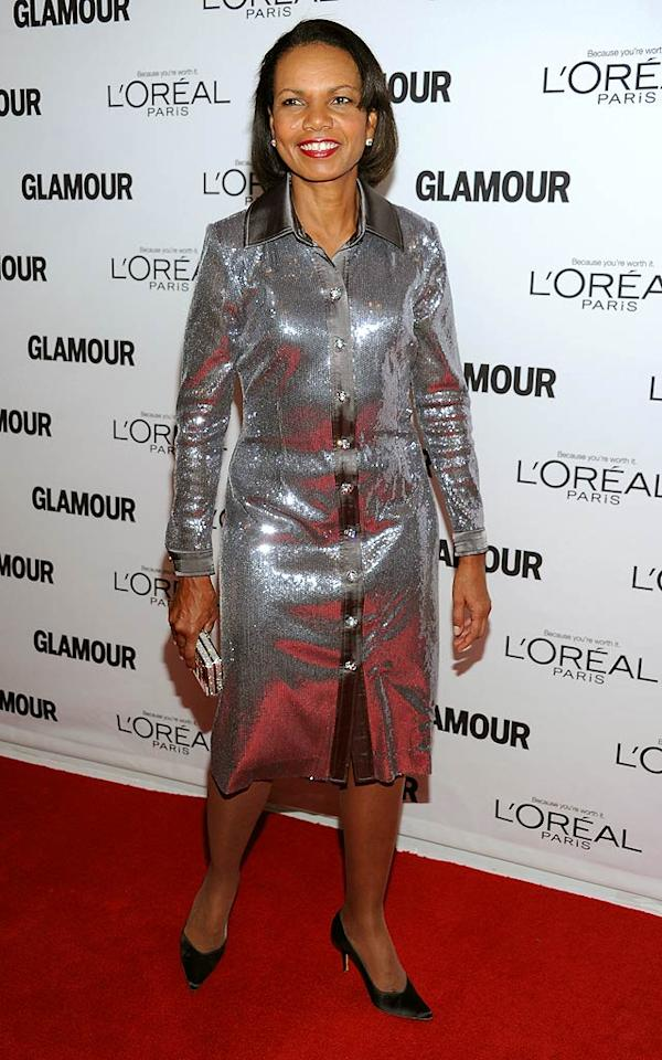 Former Secretary of State Condoleezza Rice made a rare appearance at Glamour's 2011 Women of the Year Awards on Monday night. If she's invited next year, perhaps she can wear something glamorous as opposed to this shimmering sack. (11/7/2011)