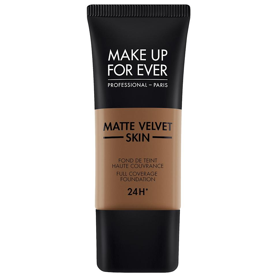 """<p><strong>MAKE UP FOR EVER</strong></p><p>sephora.com</p><p><strong>$38.00</strong></p><p><a href=""""https://go.redirectingat.com?id=74968X1596630&url=https%3A%2F%2Fwww.sephora.com%2Fproduct%2Fmatte-velvet-skin-full-coverage-foundation-P434023&sref=https%3A%2F%2Fwww.womenshealthmag.com%2Fbeauty%2Fg30857939%2Fbest-matte-foundation%2F"""" target=""""_blank"""">Shop Now</a></p><p>No caking. No fading mid-day. This matte foundation is built to last through your longest days (a full 24 hours, actually) and can cover up even the deepest of dark circles (with zero creasing). Whether you want spot coverage or a full face of foundation, this blends seamlessly with your skin.</p>"""