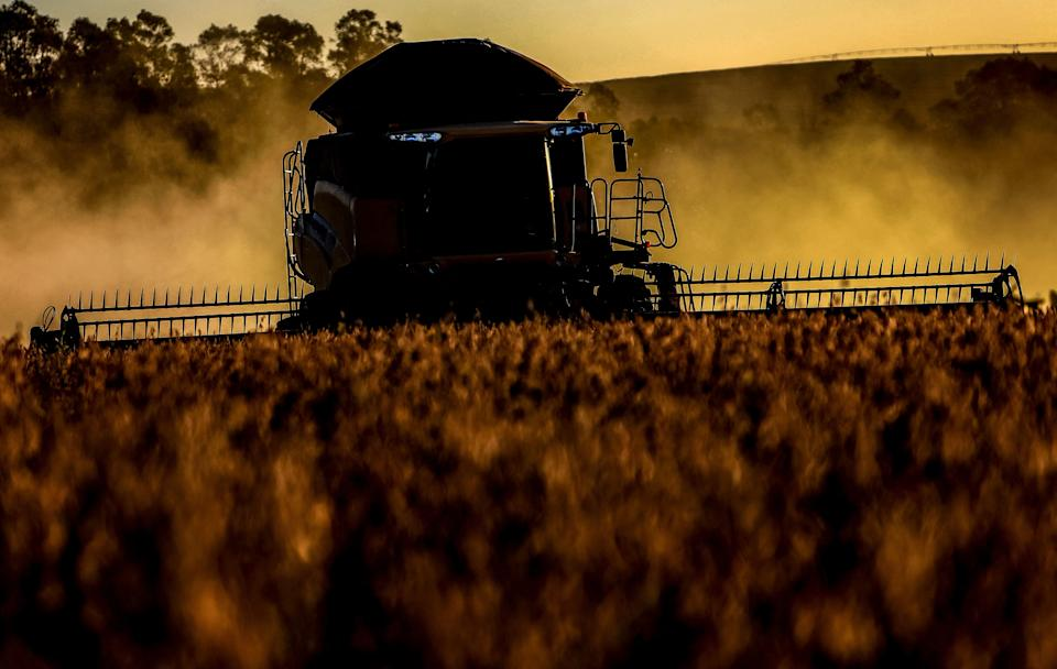 A combine harvester crops soybeans in a field at Salto do Jacui, in Rio Grande do Sul, Brazil, on April 7, 2021. - Rio Grande do Sul is the third-largest state producer of grain in the country, which is the world's largest producer of soy. According to the Ministry of Agriculture, production should reach a new record, estimated at 135.5 million tons, approximately 8.6% more tons than the 2019/20 harvest. (Photo by SILVIO AVILA / AFP) (Photo by SILVIO AVILA/AFP via Getty Images)