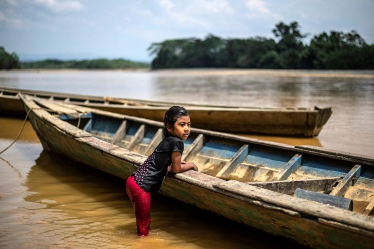 A girl of the Arazaire indigenous group -- one of the 38 groups in Madre de Dios region -- leans on a dugout canoe in the Inambari river near Puerto Maldonado, Peru (AFP Photo/Ernesto BENAVIDES)