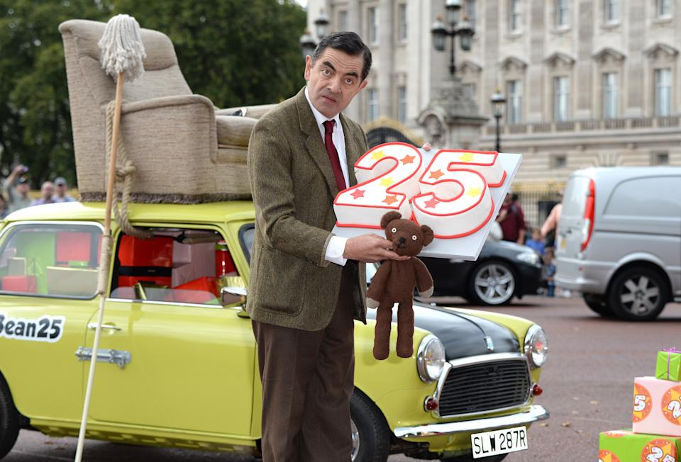 Rowan Atkinson as Mr Bean at Buckingham Palace to launch the new Mr Bean DVD and to celebrate the 25th Anniversary of the character's creation.
